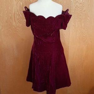 VTG 80's 90's Prom Dress Crushed Velvet Scalloped
